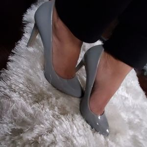 Zara Basic Patent Gray Heels 37